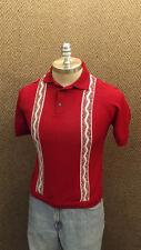 Vtg Towncraft Ban-Lon Polo Shirt VERY COOL Maroon/White Textured Design NOS sz S