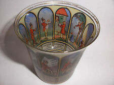 Nice antique Germany hand painted decorated panels scenic people glass cup