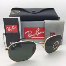 New RAN-BAN Sunglasses HEXAGONAL RB 3548-N 001 54-21 Gold Frames G-15 Green Lens