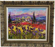 "Duaiv ""Paysages au Iris"" Hand Embelish Giclee on canvas Van Gogh style influence"