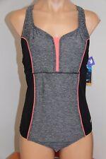New Speedo Fit Swimsuit 1 one piece Sz 10 Grey Pink