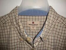 Woolrich Men's Large Shirt Beige Brown Tattersall Plaid Oxford Collar Cotton