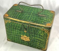 WORKER CUT PLUG TOBACCO TIN Lunch Box GREEN ALLIGATOR Advertising ANTIQUE