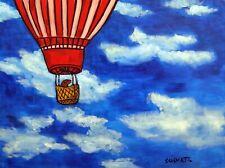 Sea lion in a Hot air balloon art print 8x10