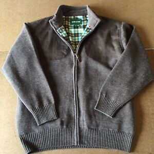 Orvis Men's Brown Wool Sweater Jacket Quilted Shoulders Check Lined Zip Up Large