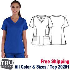 Tru Uniform Scrub Women's Two Slant Patch Pockets Curved V-Neck Top 20201