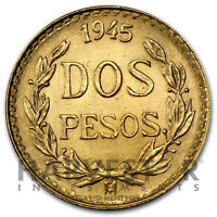 MEXICAN GOLD DOS PESOS - RANDOM YEAR COIN - GOLD MEXICAN 2 PESO .0482 AGW