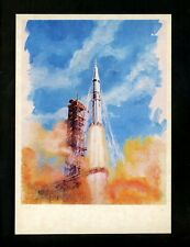 Space postcard Russian Concept Art Artist Sokolov 1978 chrome Apollo Launch