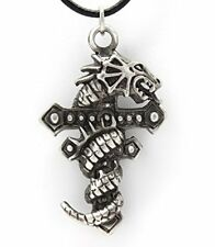 22A Silver PEWTER GOTHIC Dragon CROSS PENDANT Necklace