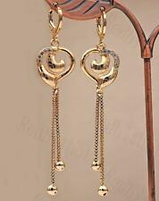 """18K Gold Filled 2.8"""" Earring Laser Carving Circle Heart Hollow Chain Wedding DS"""