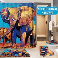 Elephant Bathroom Shower Curtain Toilet Seat Cover Pedestal Rug Bath Mat Set US