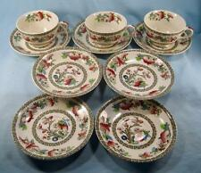 Indian Tree Lot Of 3 Cups & 7 Saucers Johnson Brothers Green Greek Key O2 AS IS