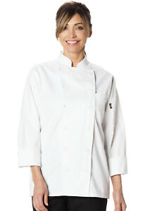 NWT DICKIES WOMEN'S EXECUTIVE CHEF COAT IN WHITE DC413