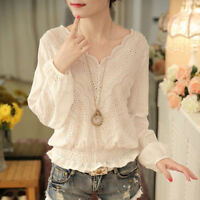Women Korean Solid Long Sleeve Slim Hollow Out V Neck Shirt Blouse Stylish Tops