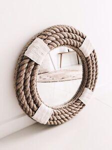 Handmade Nautical Hampton Coastal Style Round Rope Mirror Medium 60cm