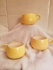 Vintage Set of 3 Winnebago Potters Yellow Soup Mugs