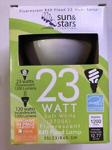 12- 23W Fluorescent Flood Light Bulb SSL23-R40/SW Warm White 2700K Sun&Stars