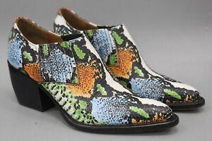 Chloe Blue Green Orange Leather Snake Embossed Heeled Boots Size 38