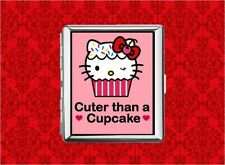 HELLO CUPCAKE KITTY CAT BAKER METAL WALLET CARD CIGARETTE ID IPOD CASE
