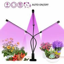 UK 30W Dimmable 3-Head 60LEDs Grow Lights Full Spectrum 3/6/12H Timer Plant Lamp