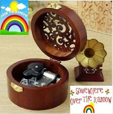 CIRCLE WOOD SILVER WIND UP MUSIC BOX :  SOMEWHERE OVER THE RAINBOW