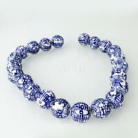 Porcelain Blue White Beads Pendants Bracelet Jewelry Bangle Making DIY 14Inch