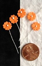 20 Flowers Tiny Orange handmade mulberry paper Pollen Autumn dolls hat miniature