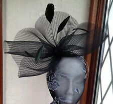 black feather fascinator millinery burlesque headband wedding hat hair piece