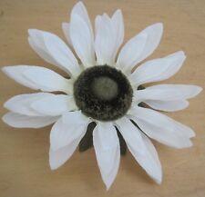 "Large 5 1/2"" White Sunflower Silk Flower Hair Clip, Wedding, Prom. Dance"