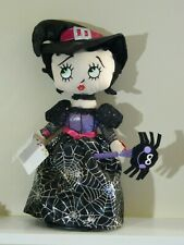 """Chantilly Lane HALLOWEEN WITCH BETTY BOOP 14"""" DOLL Spider WEB SINGS & Spins NEW"""