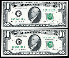 (2) CONSECUTIVE 1981 $10 FRN FEDERAL RESERVE NOTE CLEVELAND, OH UNC