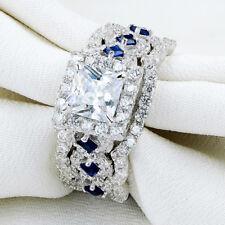 Sapphire Cz Sterling Silver Sz 8 Wedding Engagement Ring 3pcs Set Princess Blue
