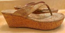 Stuart Weitzman Clasp Nairobi Sandals Gold Cork Wedge Leather Thong 7.5 REPAIR