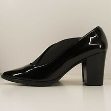 D'Chicas  Ladies Court Shoes UK 8 Black Patent Leather Elastic Crossover Heel