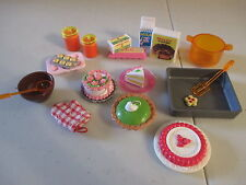 L Vintage Barbie Fashion Doll Accessories Lot Baking Food Dishes Pans Cake