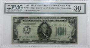 Fr. 2152-Jdgs* 1934 $100 Federal Reserve STAR Note Kansas City PMG VF 30