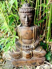 Grande statue de BOUDDHA bois sculpté Thaïlande bon état 54cm de haut BUDDHA