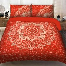 Indian Hippie Red Gold Ombre Mandala King Size Bedding Duvet Doona Pillow Cover