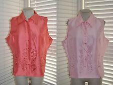 New SILKLAND sz XL ~ Lot of 2 ~ Embroidered 100% Pure Silk Tops NWT ~ Coral/Rose
