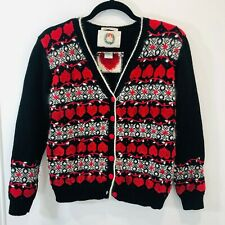 Christopher & Banks S Christmas Cardigan Sweater Hand Embroidered Striped Hearts