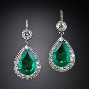 40Ct Pear Cut Emerald Syn Diamond Chandelier Dangle Earrings White Gold F Silver