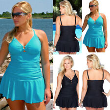 Women Plus Size Control Tummy Costume Tankini Swim Dress Bikini Bathing Swimsuit