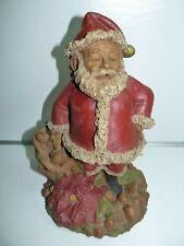 "Tom Clark Gnomes Santa Claus with Poinsettia Christmas Flowers 11"" w/ Coa 1986"