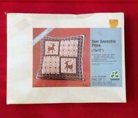 Leewards Deer Geometric Pillow Needlepoint Kit New in Box 21-12233 Vintage 1976