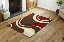 Brown Red Extra Large Wave Hand Carved Rug 12mm Thick Modern Luxury 200 X 290 Cm