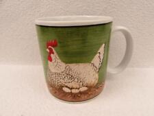 Henny Penny by Sakura Oneida Green Mug Black White Chicken Eggs BRAND NEW