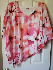 AVENUE Plus Floral Top White-Pink-Ivory Floral Stretch Lined Size 22-24