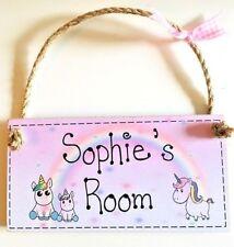 PERSONALISED ANY NAME GIFT new baby girl Room door sign plaque unicorn Christmas