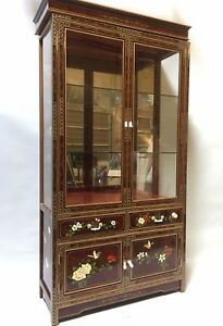 """Oriental furniture curio cabinet 40"""" burgundy red lacquer cabinet"""