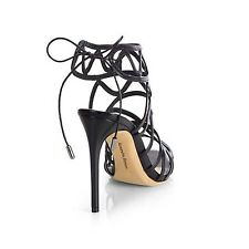 NEW! ALEXANDRE BIRMAN Black Leather Stiletto Caged Heel Sandal Shoe 6 1/2 $618
